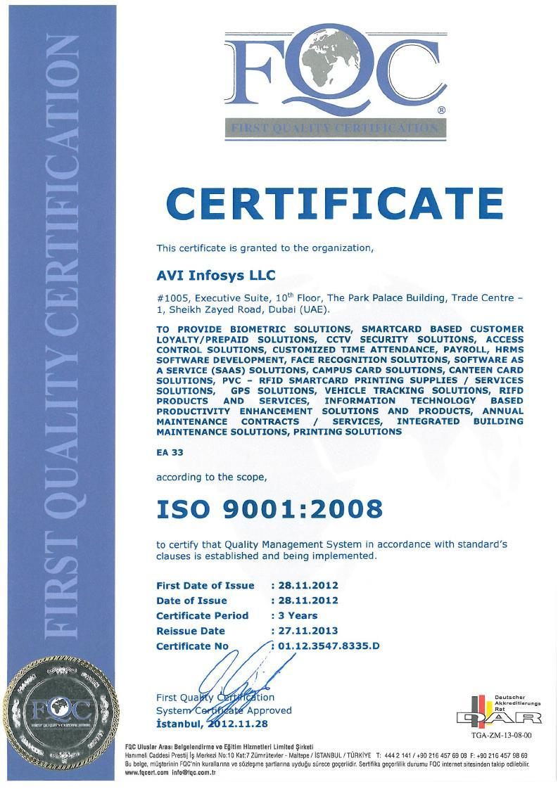 Avi Infosys Certifications