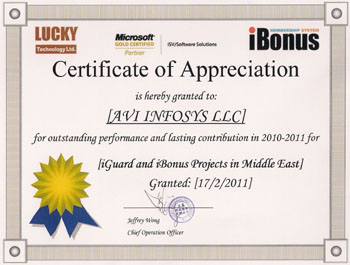 Lucky iBonus Cerificate of Appreciation Year 2011-2012