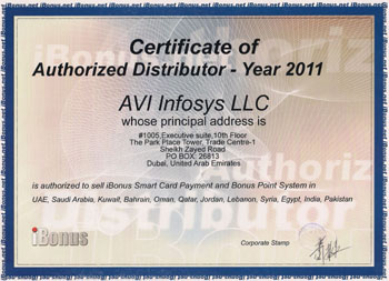 iBonus Certificate of Authorized Distributor Year 2011